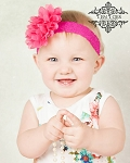 Hot Pink Chiffon Lace Baby Headband