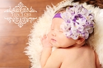 Lavender White Floral Peacock Lotus Flower Purple Baby Headband