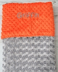 Personalized Orange and Grey Double Minky Baby Blanket