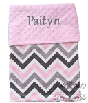 Personalized Pink Grey Multi Chevron Double Minky Baby Blanket