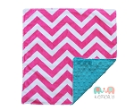 Hot Pink Chevron on Teal Double Minky Lovey