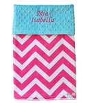 Personalized Hot Pink Chevron on Turquoise Double Minky Baby Blanket