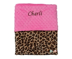 Personalized Leopard on Hot Pink Double Minky Baby Blanket