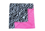 Zebra on Hot Pink Double Minky Baby Blanket